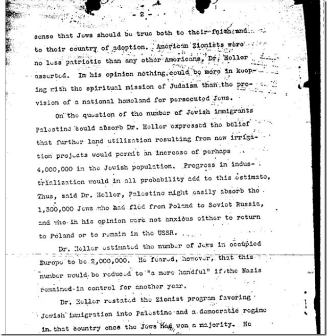 FBI Sionistleder sier i 1943 at det er to millioner jøder3