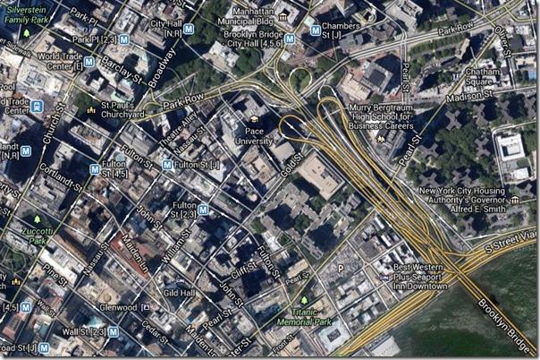 Brooklyn Bridge satellittbilde 11. september 2001 World Trade Center