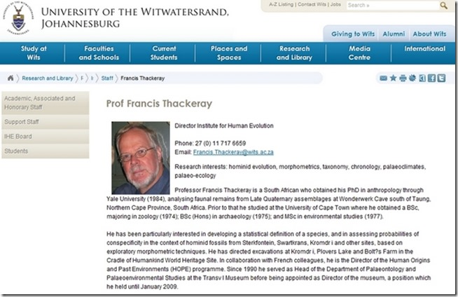 Professor Francis Thackeray