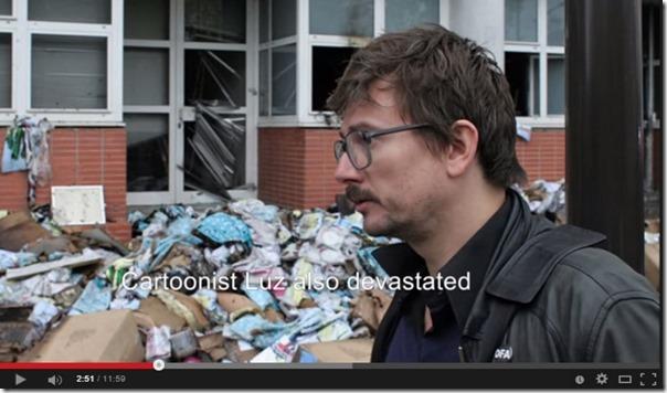 Charlie Hebdo-lokale med redaksjonens tegner