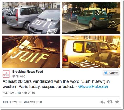 Franske biler malt med Juif - jøde