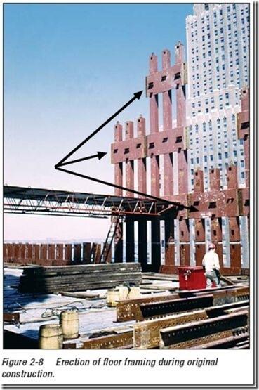 Utvendig bærekonstruksjon av stål - tvillingtårnene WTC