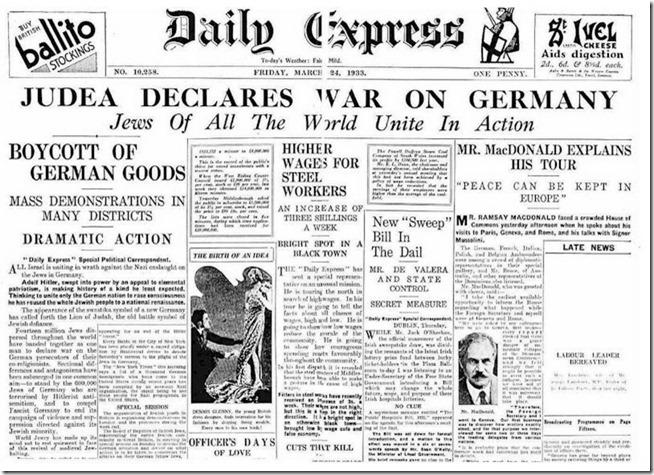 Judea erklærer Tyskland krig i 1933