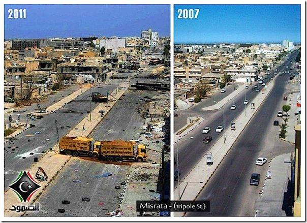 Misrata i Libya før og etter at Jens Stoltenberg bombet Libya