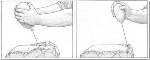 Illustrasjonen viser Protzen-metoden, og skal forklare hvordan mennesker tilhørende steinaldersamfunn formet blant annet granittsteinene i Sør-Amerika. Jean-Pierre Protzen fra Berkeley-universitetet i USA mener at inkaene hugget ut granittblokkene med steinhammere og kobbermeisler. Deretter ble de formet videre ved hjelp av runde arbeidssteiner.