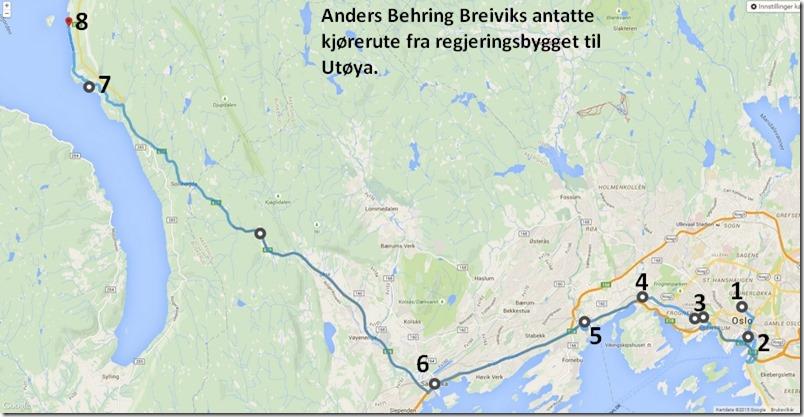 Anders Behring Breiviks antatte kjørerute fra Oslo til Utøya