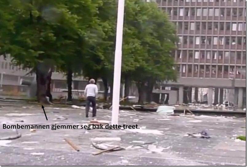 Vitnet nærmer seg mens bombemannen gjemmer seg bak treet