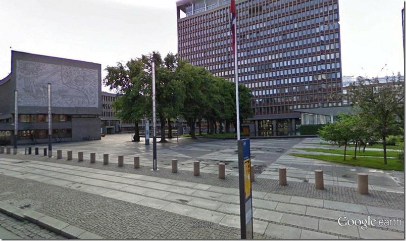 Y-blokka og Høyblokka sett fra Akersgata