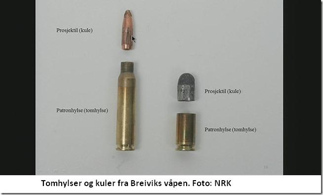 Tomhylser og kuler fra Breiviks våpen