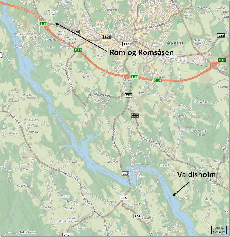 Askim, Rom, Romsåsen og Valdisholm