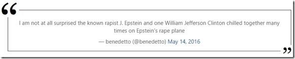 Benedettos twitter-melding om Bill Clintons pedofile reiser med Epstein