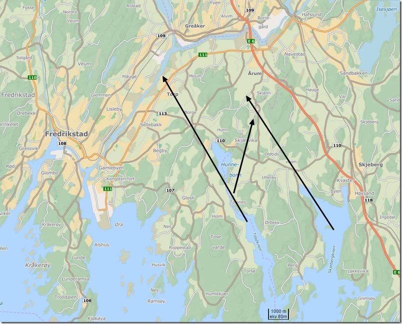 Historiske veier inn i Glomma fra Oslofjorden