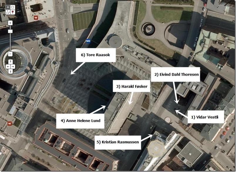 Regjeringskvartalet flyfoto-illustrasjon hardt skadde