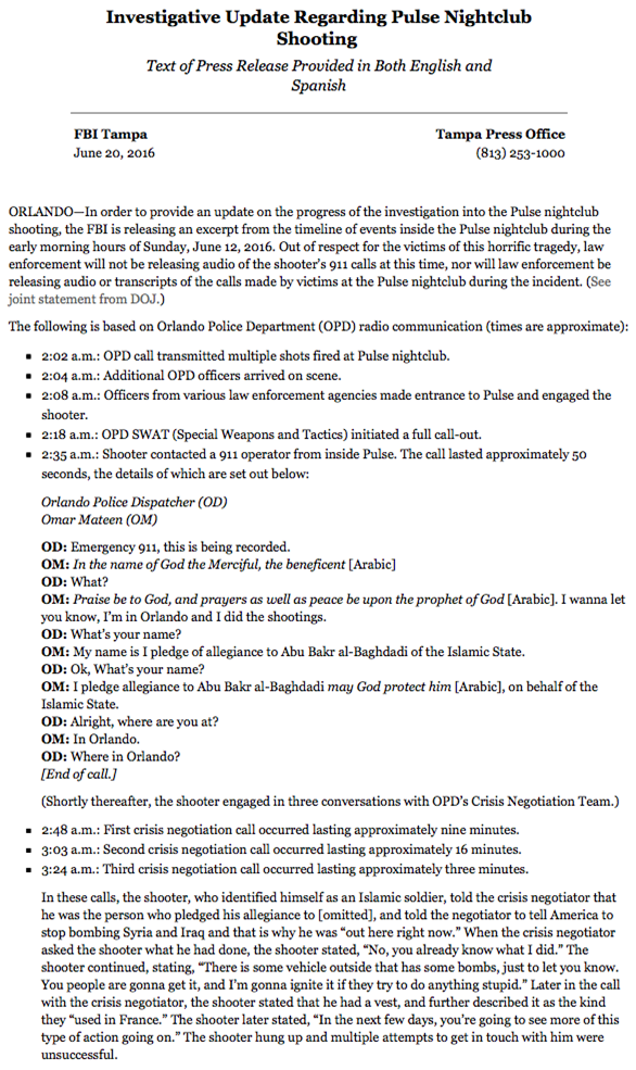 FBI-rapport Pulse Nightclub Shooting 1