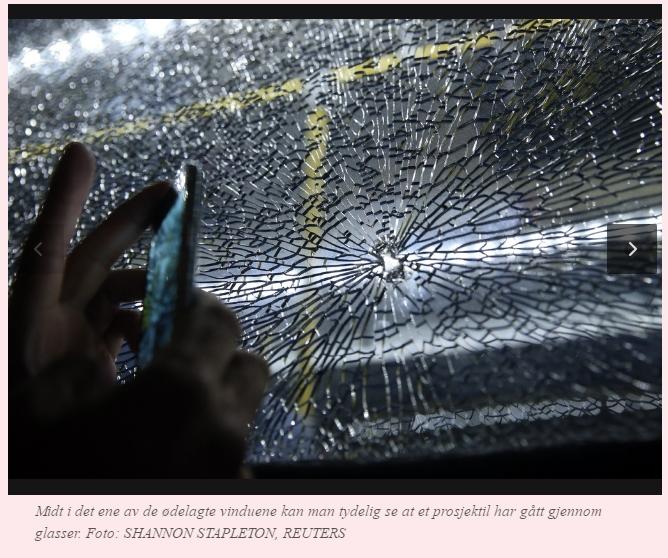 Bussvinduet på journalistbussen i Rio fra VG med kommentar