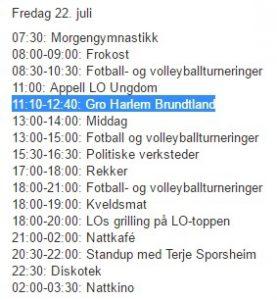 Programmet for Utøya den 22. juli 2011. Klikk for full størrelse.