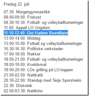 Program Utøya 22. juli 2011