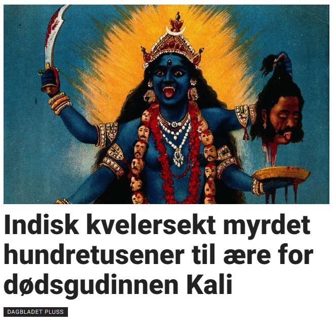 Dødsgudinnen Kali, en av favorittene til vår tidligere kronprinsesse, er også en favoritt hos folkene bak partikkelakselleratoren i Cern i Sveits. Bildet er hentet fra Dagbladet.