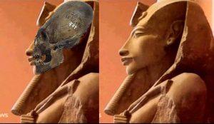 Akhenaten i en illustrasjon med en av de lange skallene fra Sør-Amerika. Kilde: ancient-code.com