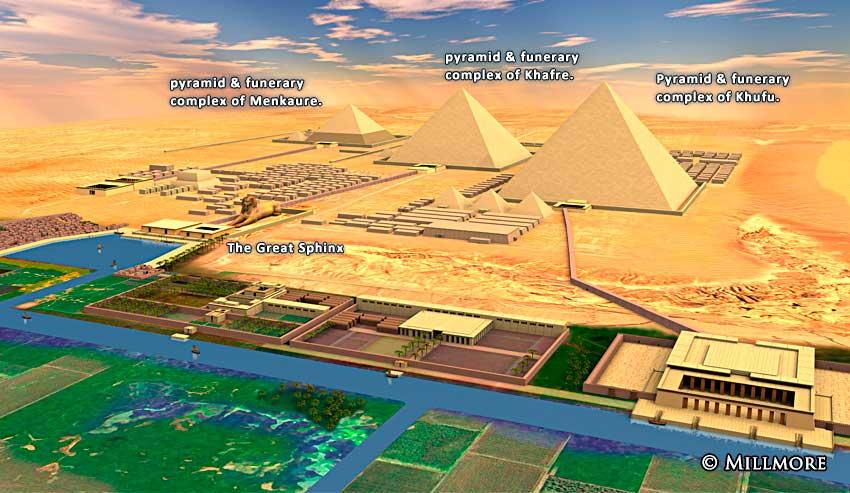 De tre store pyramidene og andre fantastiske byggverk i Giza, Egypt. Kilde: http://discoveringegypt.com/