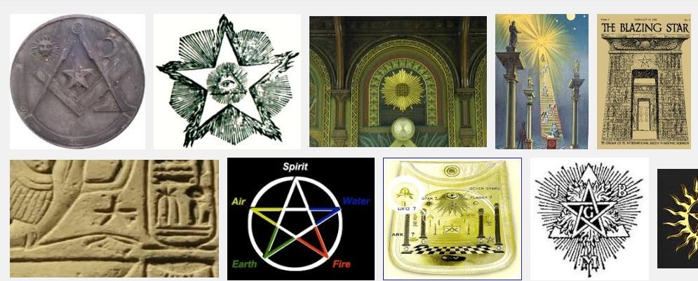 Frimurerlosjenes flammende stjerne er forskjellige symboler for Sirius. Bilde: Google bildesøk skjermbilde
