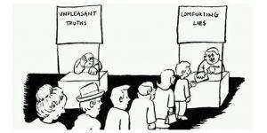 Vi velger å la oss trøste av løgner heller enn å ta innover oss den vonde sannheten. Foto: thevsacademy.files.wordpress.com