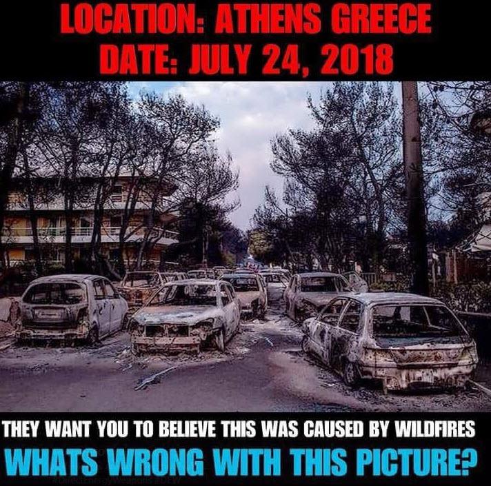 Såkalte skogbranner i Aten sommeren 2018 grillede biler